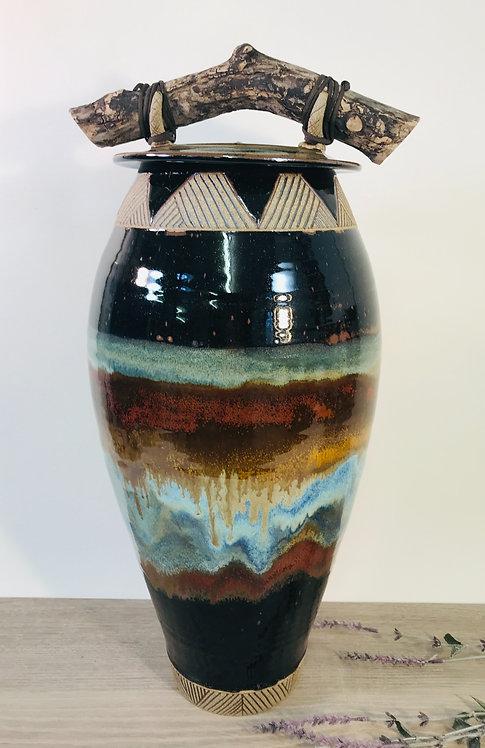 Pottery Jar, Decorative Jar, Urn for Remains, Storage Jar, Nature Inspired