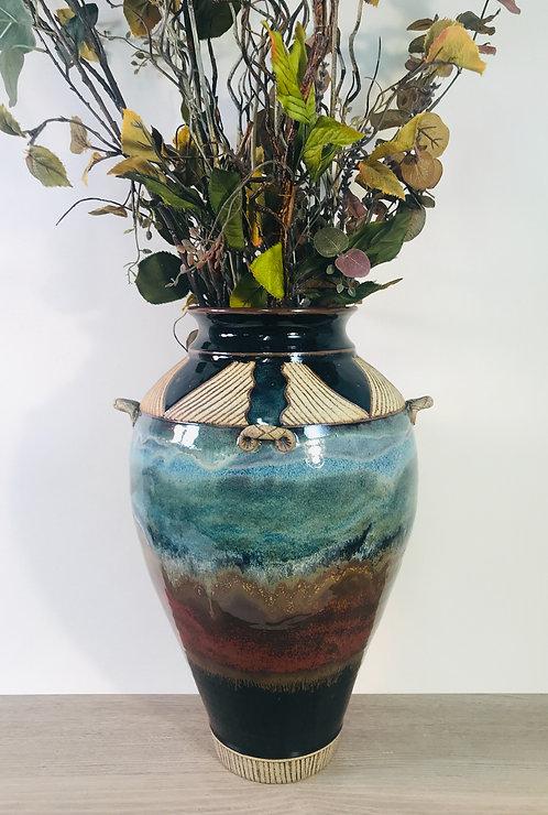 Decorative Pottery Vase with Multiple Glazes