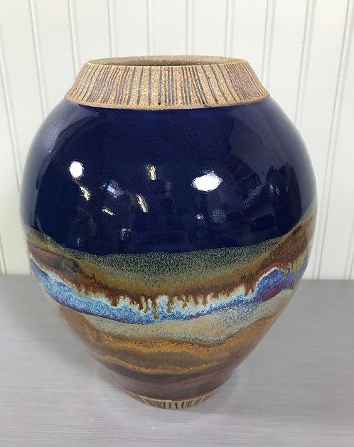 Decorative Pottery Vase, Blue Vase, Flower Vase, Ceramic Vase