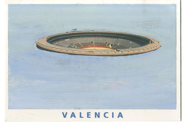 Gabi Gallego_la antigua plaza de toros_oleo sobre tarjeta postal_2013