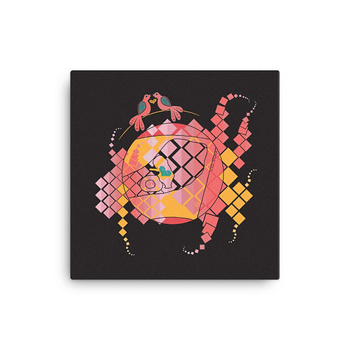 Canvas pregnancy art Doves abstract black