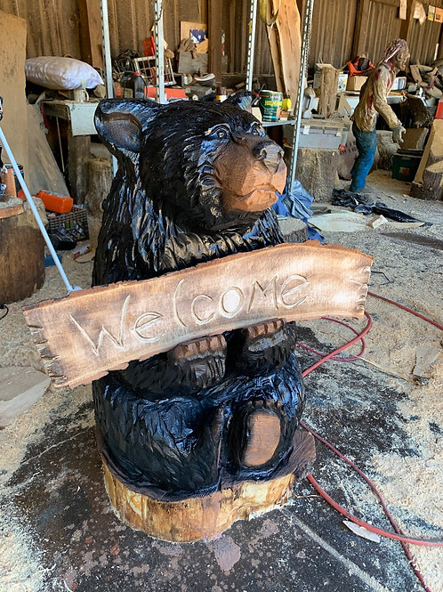 4 ft Fat Sitting Welcome Bear