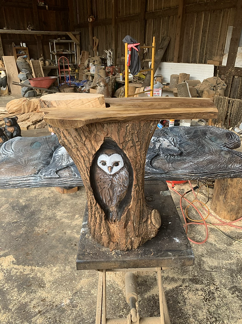 Walnut and Willow Owl End Table