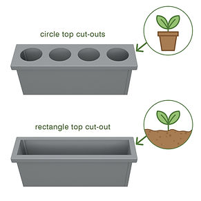 Rectangle planters showing the circles top cut-out is for plant pots while the rectangle top cut-out is for traditional planting