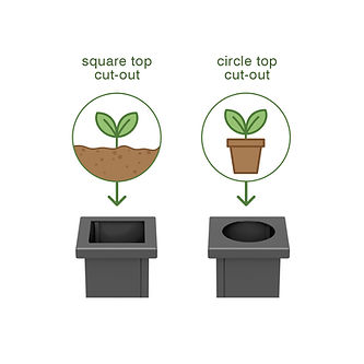 Square planters showing the circle top cut-out is for plant pots while the square top cut-out is for traditional planting