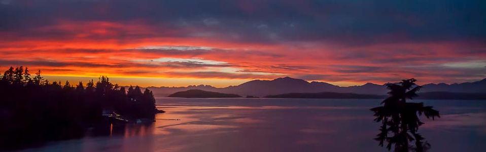 Brilliant Sunset over Barklay Sound in Bamfield BC
