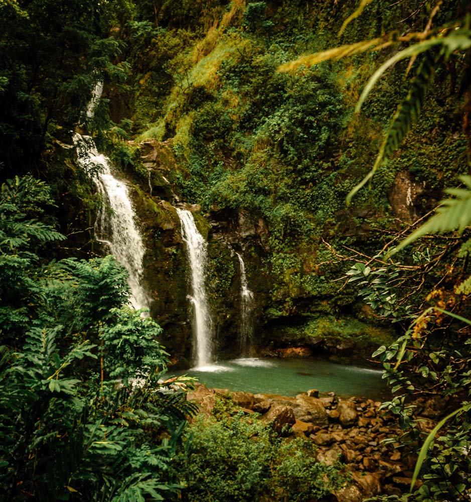 3 waterfalls into blue lagoon on Maui