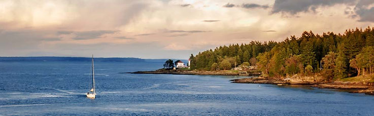 Lighthouse and Sailboat near Victoria BC