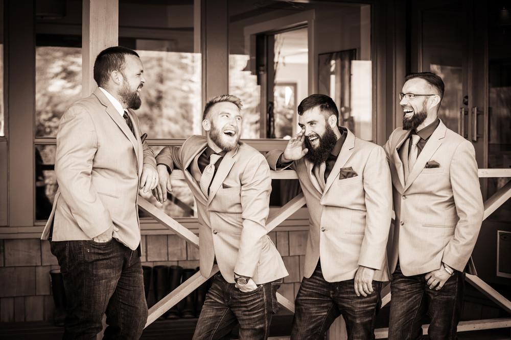 Laughing groomsmen