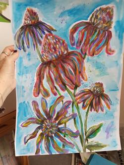 Acrylic Echinaceas
