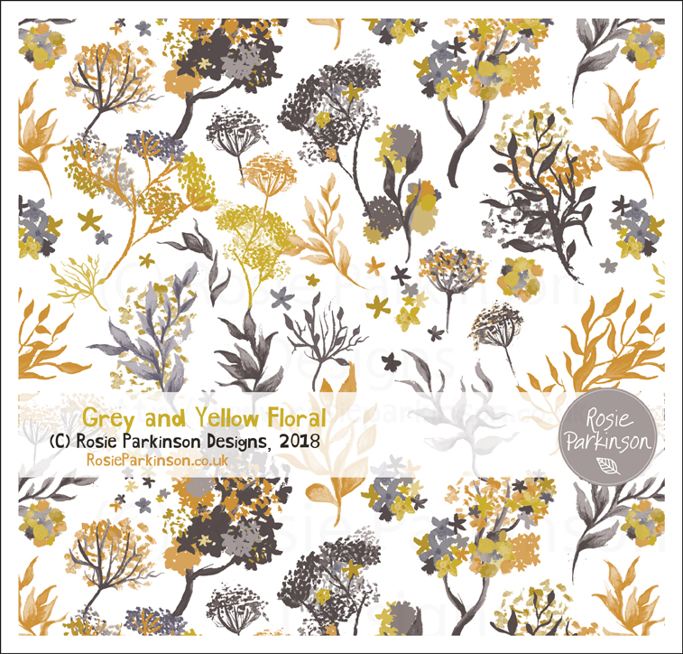 Grey and Yellow Floral