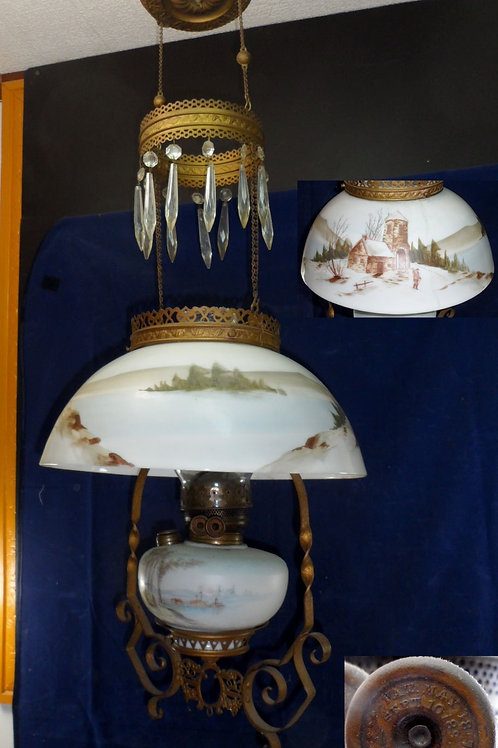 Hanging Parlor Oil Lamp With Hand Painted Shade