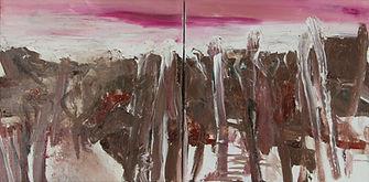 landscape I (magenta, brown) 2x30x30cm 2