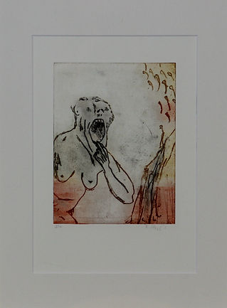 hommage M. Lassnig (orange) 40x30cm 2019
