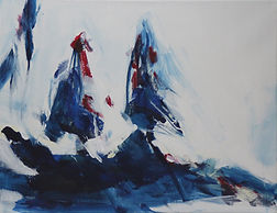 Bayerischer Winterwald blau- rot 50x65cm