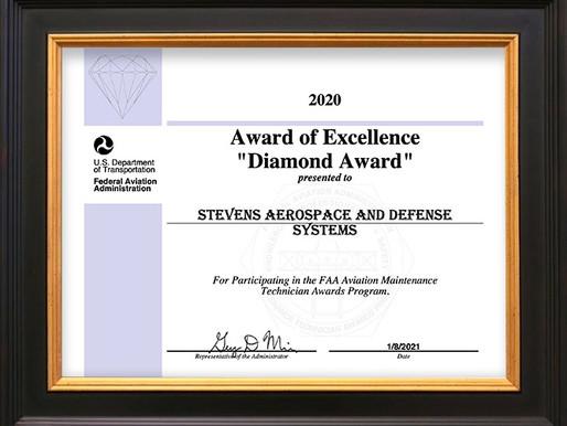 STEVENS' NASHVILLE LOCATION RECEIVES FAA AWARD OF EXCELLENCE