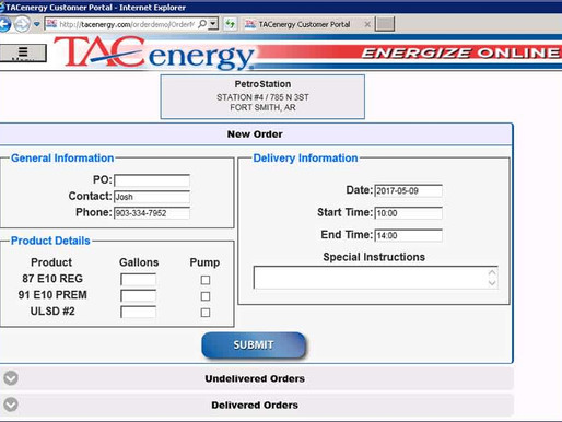 TAC Energy Online Ordering Portal Offers Customers Customization and Real Time Data