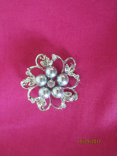 Silver and Grey Pearl Brooch