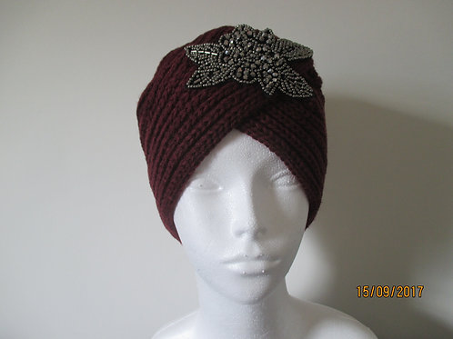 Knitted Turban with Decoration