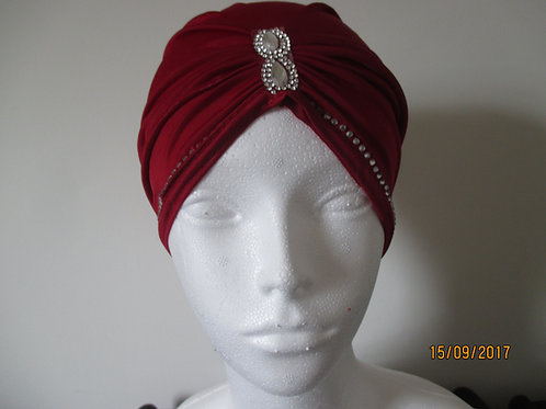 Polyester Turban with Jewel Detail