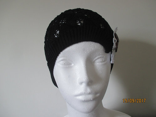 Lacy Knitted Beanie with Side Trim