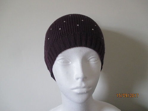 Knitted Beanie with Diamante Trim