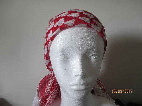 Cotton Scarf in Red and White
