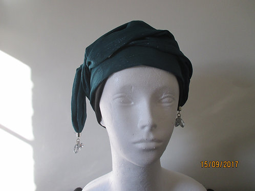 Green/Blue Evening Scarf with Delicate Bead Trim