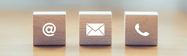 contact us icon (phone, email, mail ) on wood cube, customer service and support for self