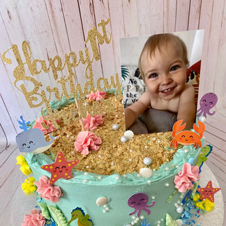 Underwater 1st Birthday Cake