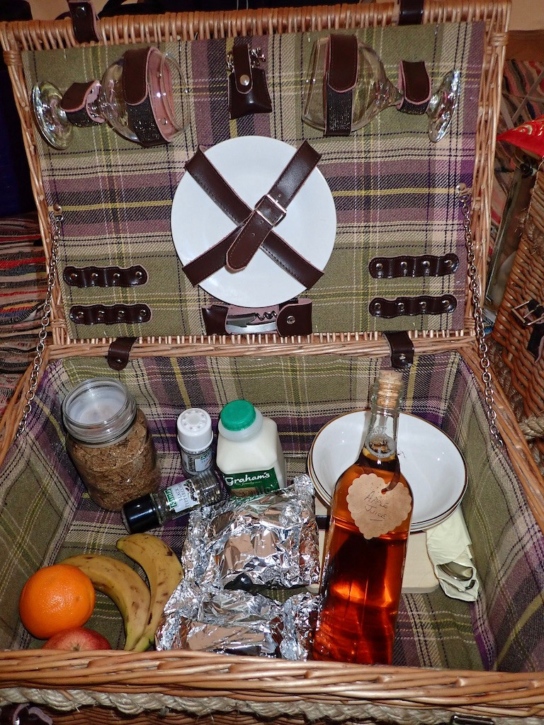 picnic basket, bell tent in the Cairngorms