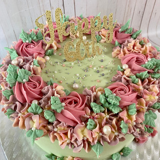 10 Inch 60th Floral Cake