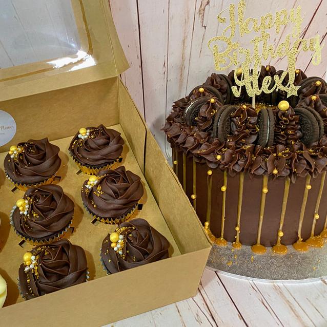 Salted Caramel Cake and Cupcakes