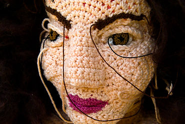 portraits sculptural crochet installation