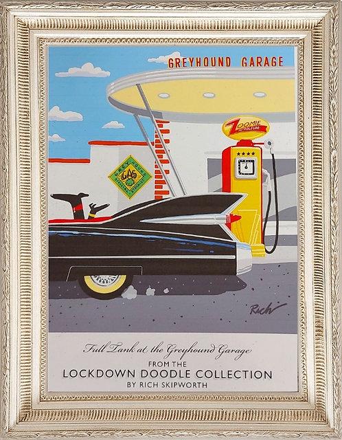 Greyhound Garage A4 Print