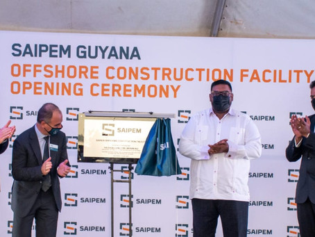 Saipem opens offshore construction facility in Guyana.