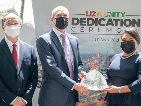 First Lady Arya Ali is 'Godmother' of Guyana's 2nd oil production vessel.