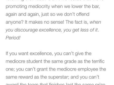 Complacency the enemy of greatness.