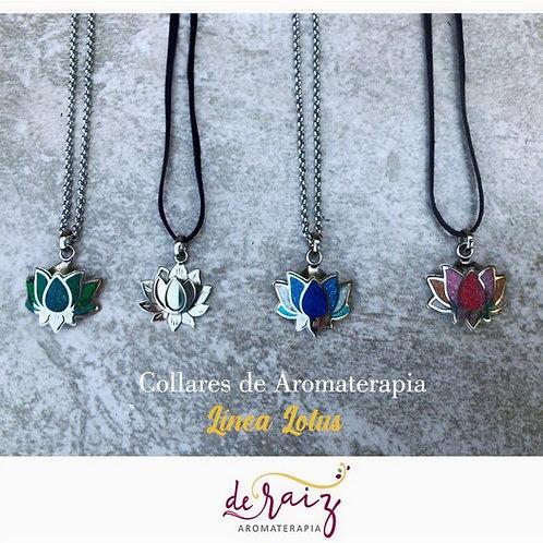 Collar de Aromaterapia  -Linea Lotus (Alpaca/piedras reconstituidas)