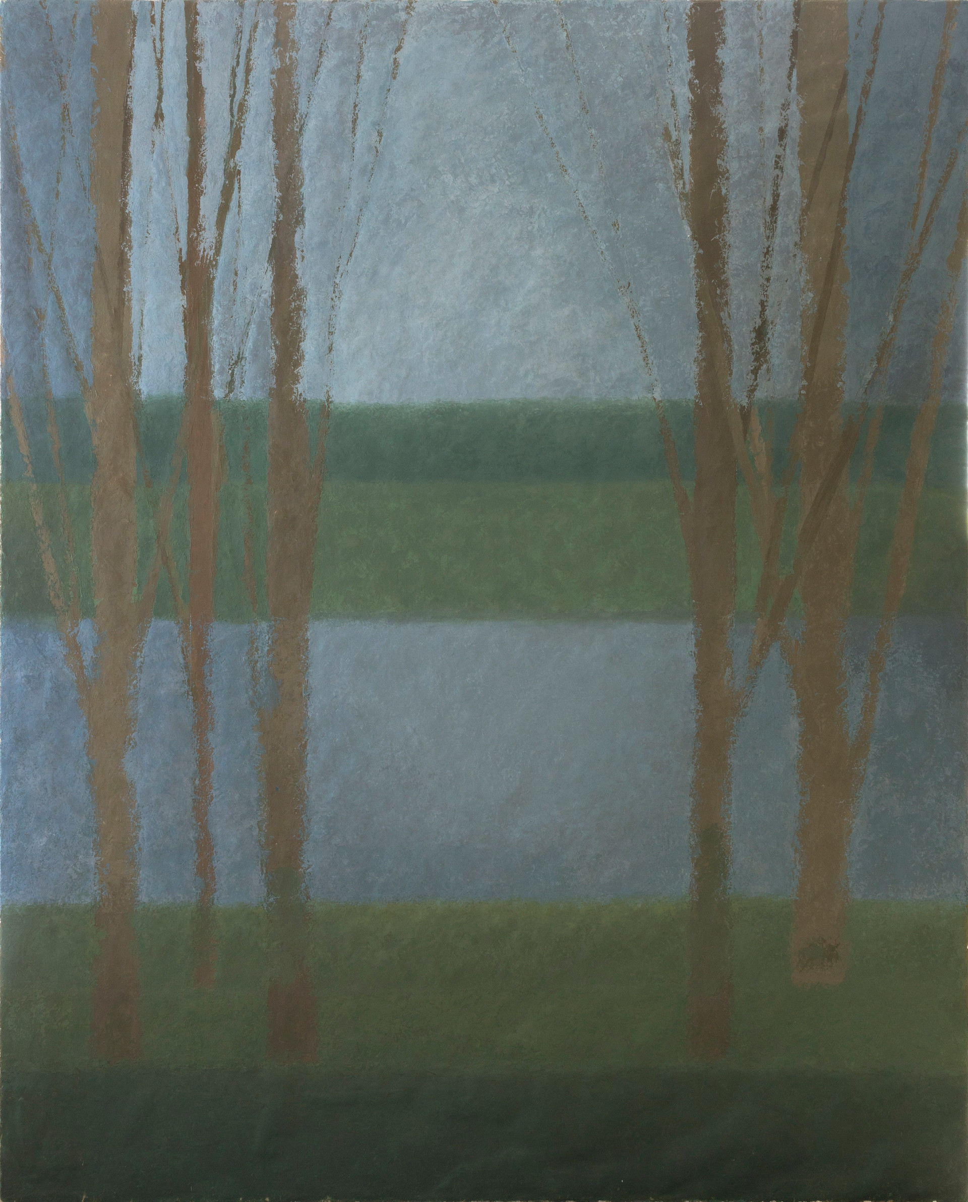 Untitled - trees with blue and green stripe background