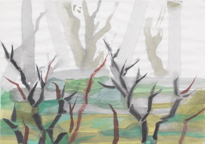Untitled - black and brown bare trees