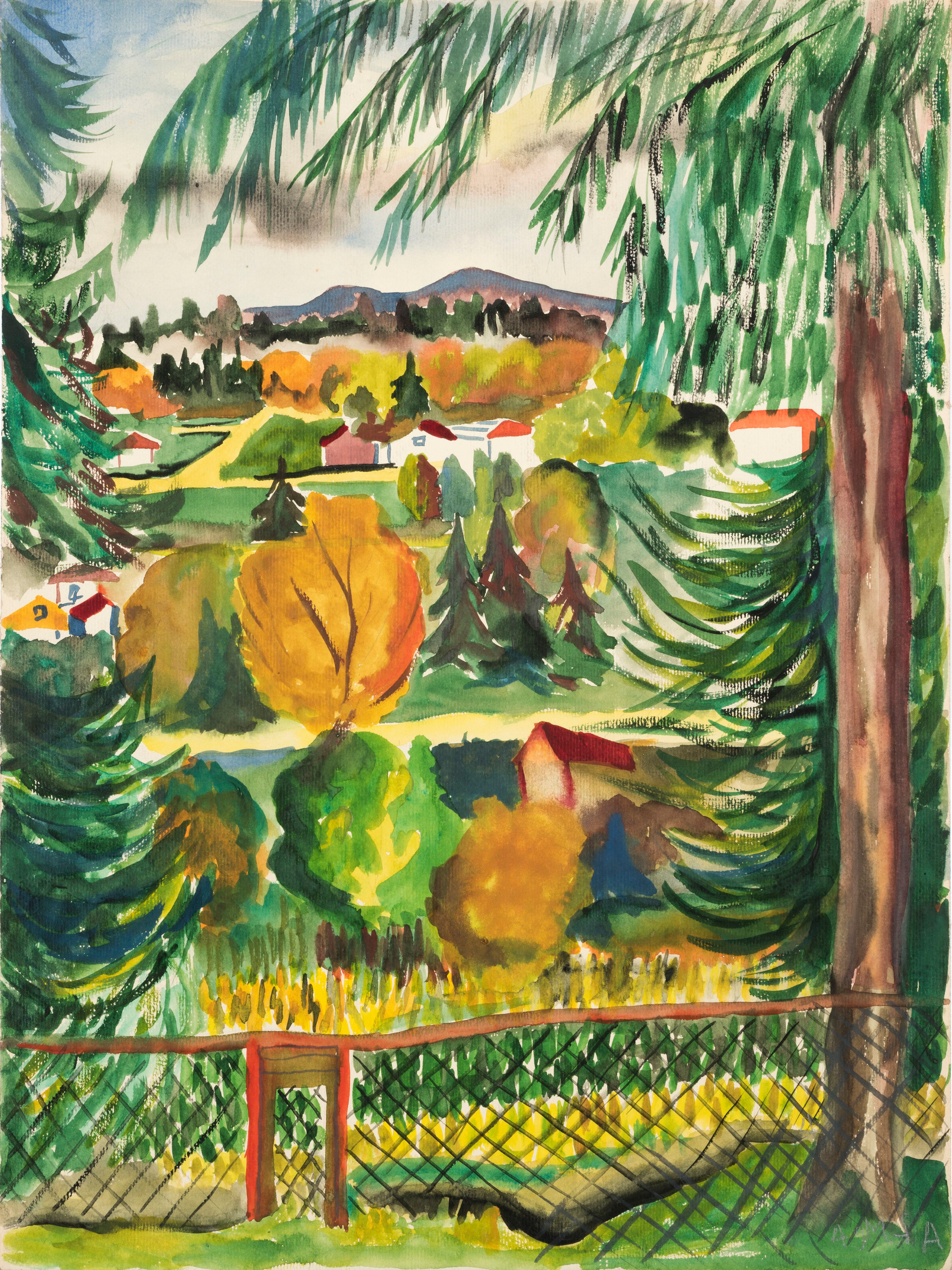 Untitled - landscape with red fence