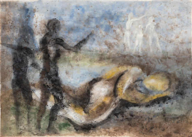 Untitled - two black standing figures with one big white lying figure