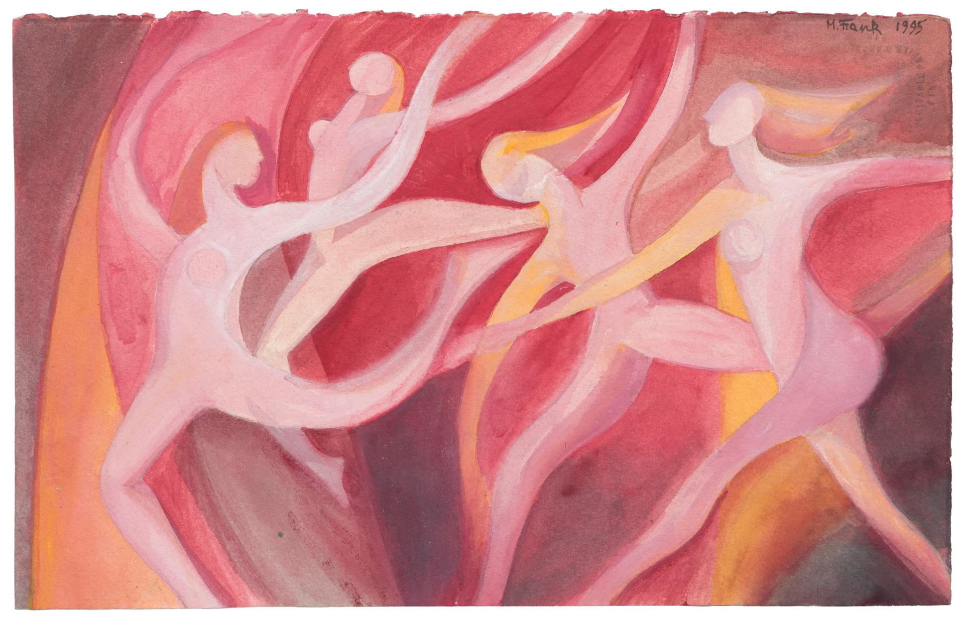 Untitled - nude female figures dancing (pink)