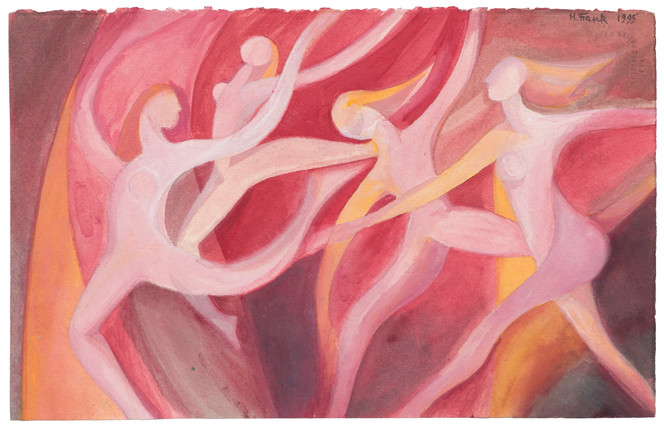 Untitled - nude female figures dancing (pink)