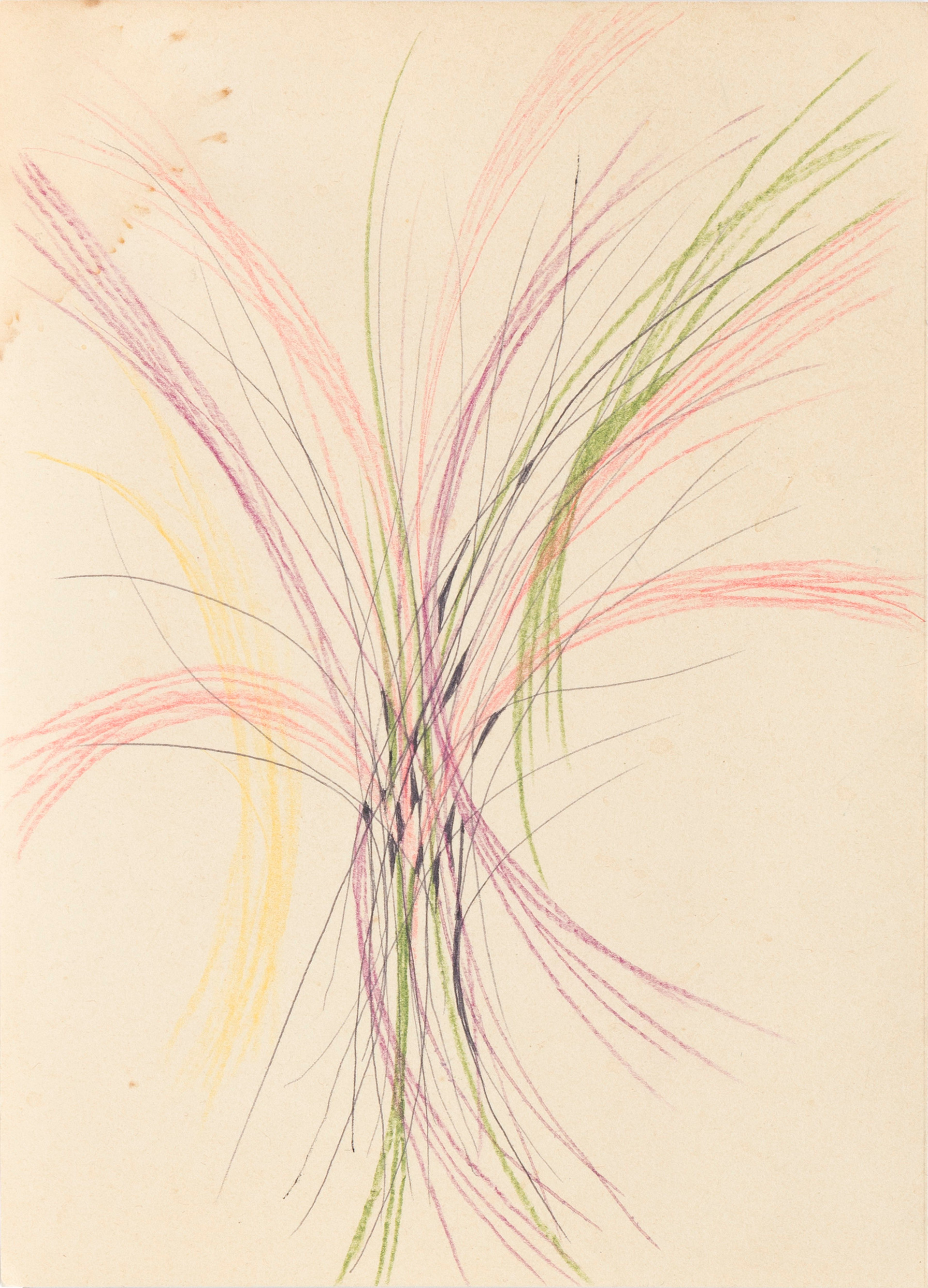 Untitled - small drawing with pink, green, purple, yellow and black curves