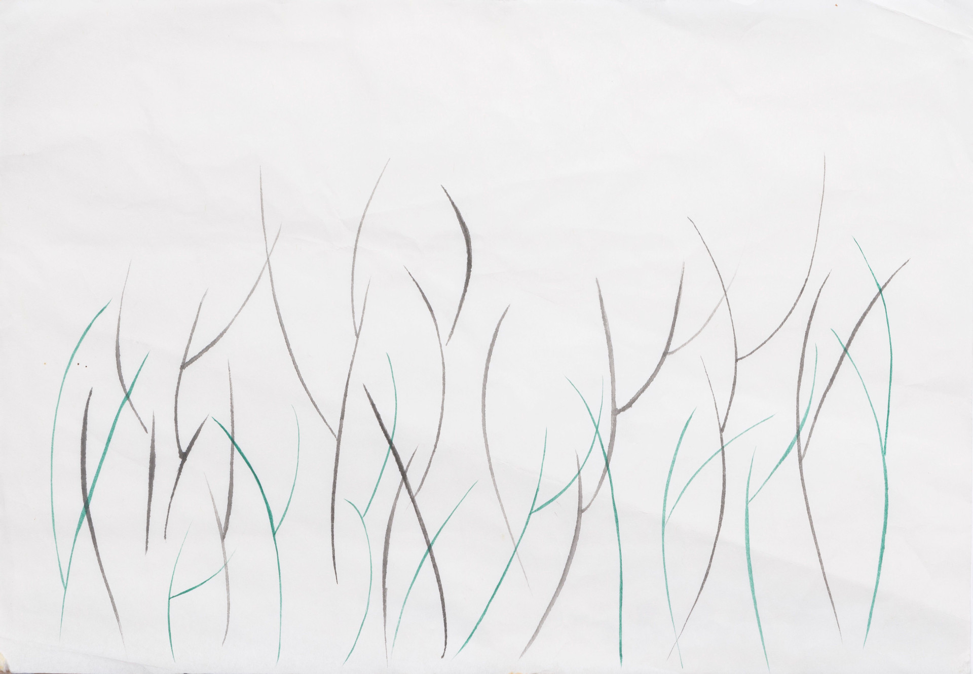 Untitled sketch - simple green and gray tree branches
