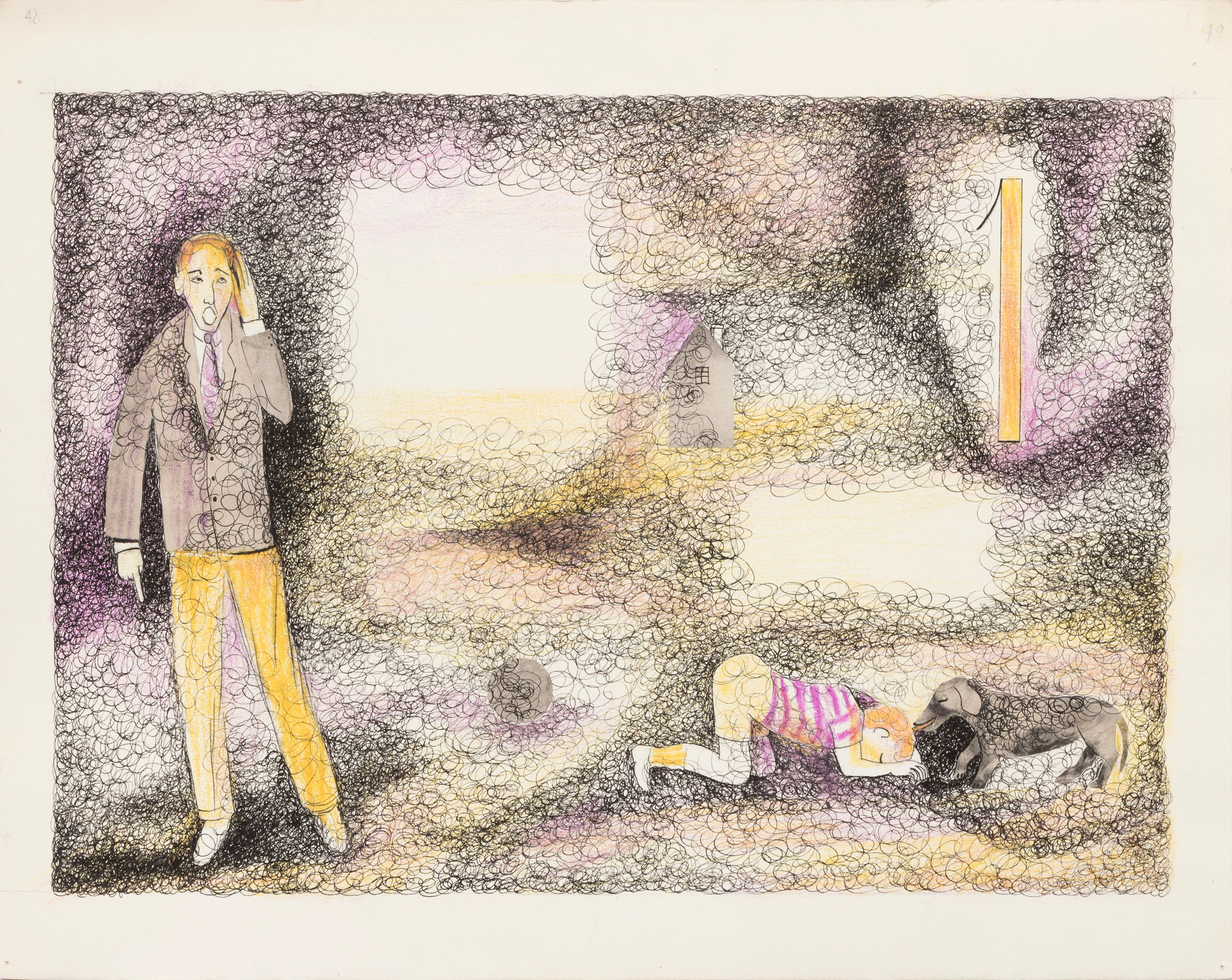 Untitled illustration page 48, 49 (boy and dog)