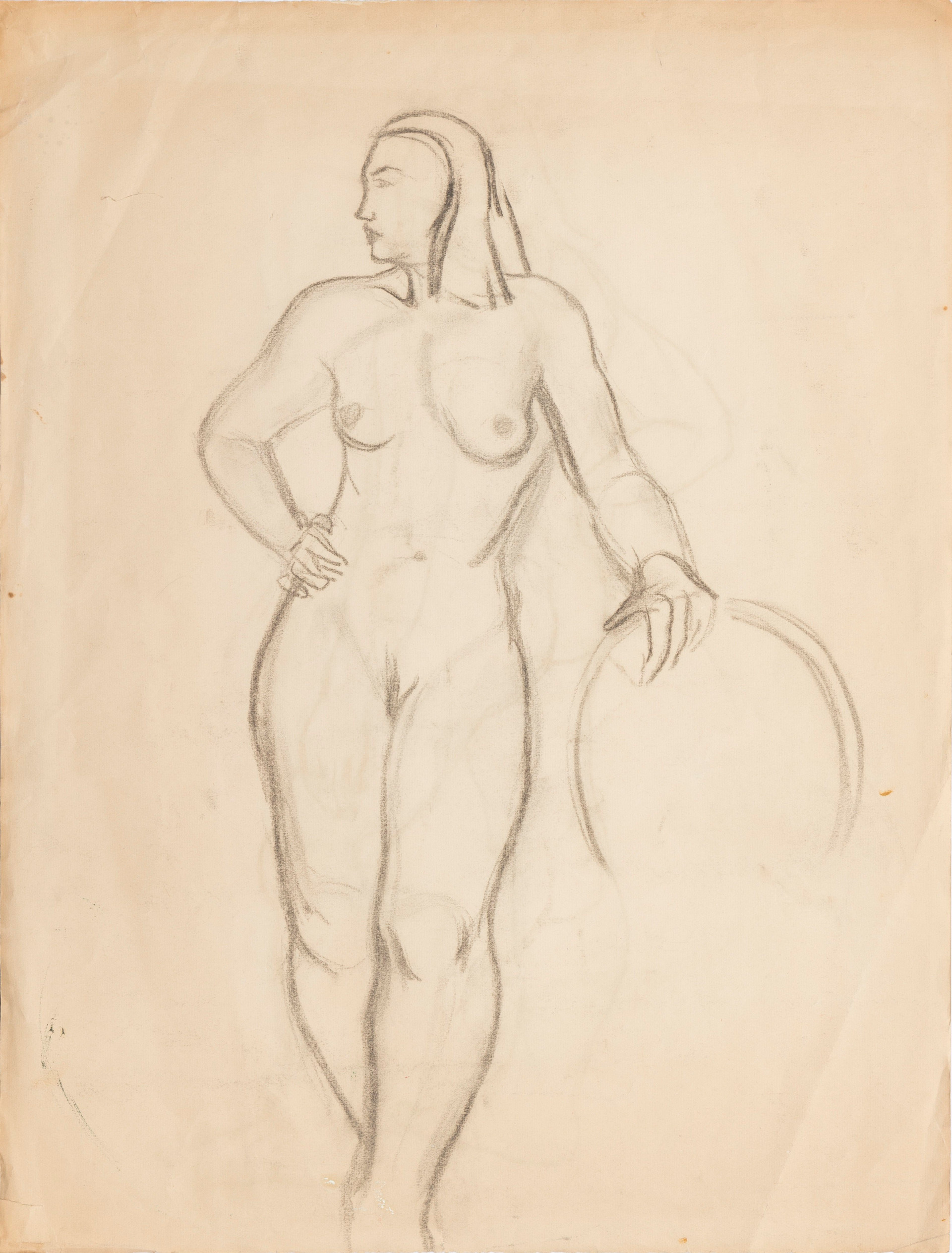 Untitled sketch - nude female figure standing with a round object and the back of the figure (front)