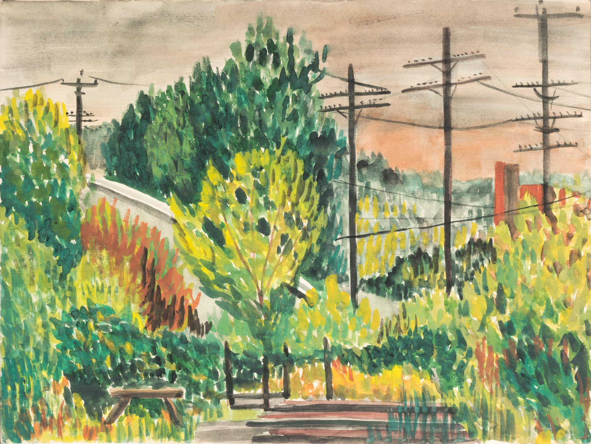 Untitled - green trees, gray house, bench and telephone poles